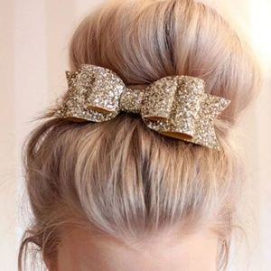 silver gold sequence sparkly hair bow clip